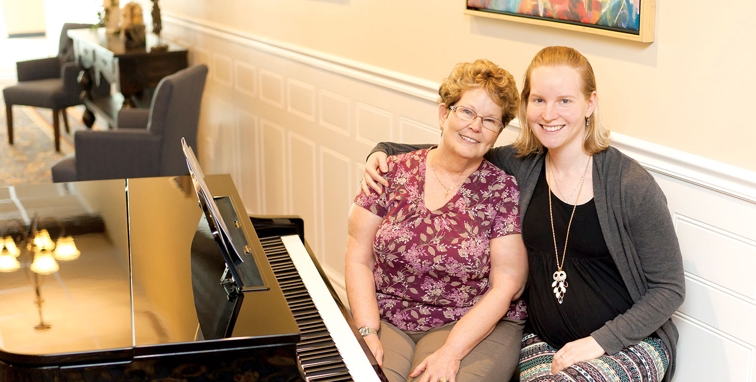 mother and daughter at piano